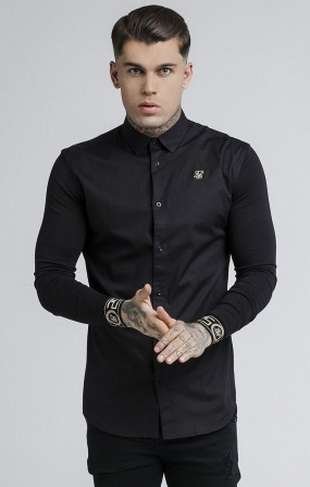 SikSilk Camicia con Colletto - Nero e Oro