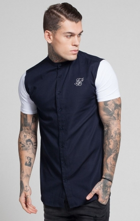 CAMICIA SikSilk - NAVY/WHITE