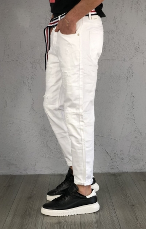 Gianni Lupo Denim Carrot Fit - Bianco