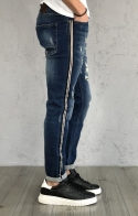 Gianni Lupo Jeans Regular Slim Fit effetto Distressed con Banda Laterale