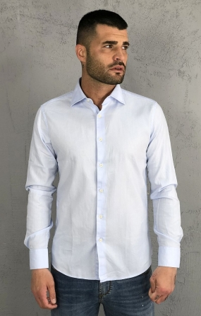 Gianni Lupo Camicia con Colletto - Celeste