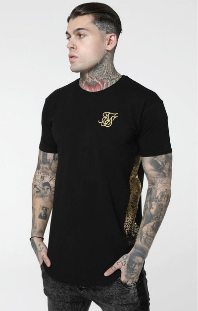 T- shirt SikSilk Foil Fade Panel - Nero & Oro