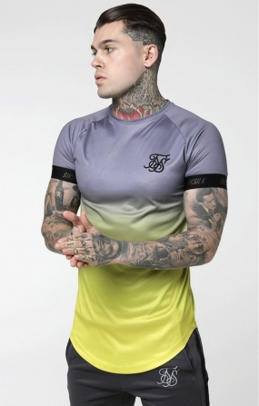 T-shirt Fade Out Tech Grigio e giallo neon - SikSilk