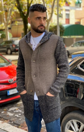 Maglione Cardigan lungo Camel - Gianni Lupo