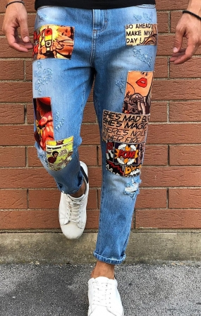 Jeans Patch Denim chiaro - BERNA