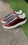 Scarpa in Pelle con Borchie Bordeaux Bianco Nero - LOST