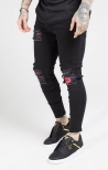 Denim Skinny Oil Patch Nero - SikSilk
