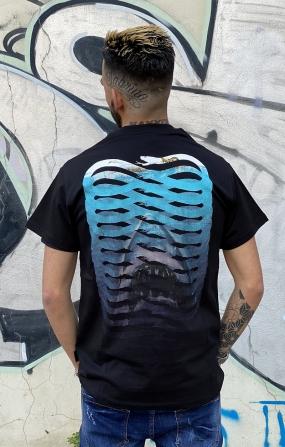 T-shirt Nera Ribss Shark - Propaganda
