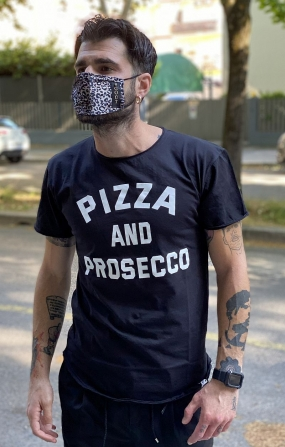 T-shirt Pizza And Prosecco Nera - Berna