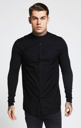 Camicia in jersey con colletto alla coreana Nera - SikSilk
