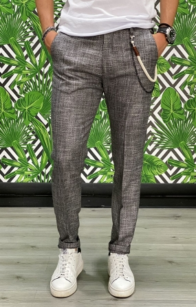 Pantalone Chinos Tweed Bicolore - Nero