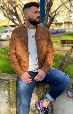 Giubbino Biker Brown - GIANNI LUPO