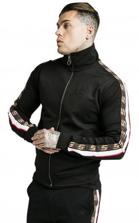 SikSilk Felpa Full Zip Jacquard retrò - Nero