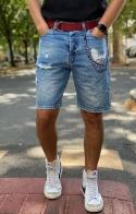 GIANNI LUPO Bermuda di Jeans con Strappi - Denim chiaro