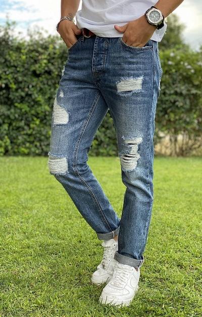 GIANNI LUPO Jeans Regular Slim Fit - Denim Chiaro
