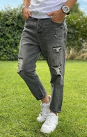 GIANNI LUPO Jeans Mike Carrot Cropped Fit con Strappi - Nero Vintage