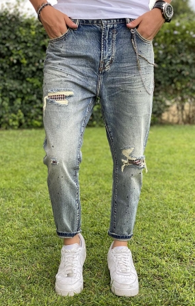 GIANNI LUPO Jeans Mike Carrot Cropped con strappi e Patch