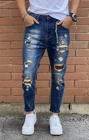 GIANNI LUPO Jeans Mike Carrot Cropped con Schizzi, Rotture e Patch