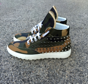 SCARPA I'M FREAK IN TESSUTO CAMOUFLAGE CON BORCHIE INTERNO IN PELLE MADE IN ITALY