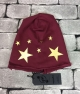 BEANIE PEOPLEHOUSE WINE STELLE ORO CAPPELLINO PEOPLEHOUSE ADERENTE COLORE WINE CON STAMPA STELLE ORO