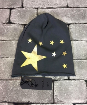 BEANIE PEOPLEHOUSE STELLE ORO CAPPELLINO PEOPLEHOUSE ADERENTE CON STAMPA STELLE ORO