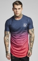 Siksilk s/s curved hem faded tee - Red sunset fade