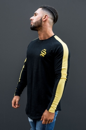 Sinners Attire Long Sleeve Core Tee - Black/Yellow