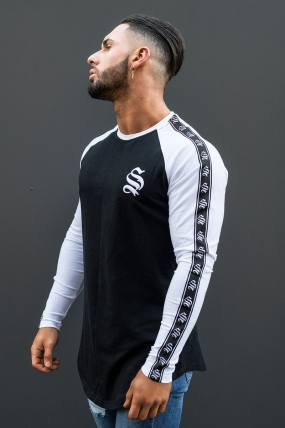 Sinners Attire Long Sleeve Tape Core Tee -Black&White