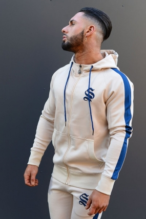 Sinners Attire Poly Tracksuit Hoodie - Sand/Navy