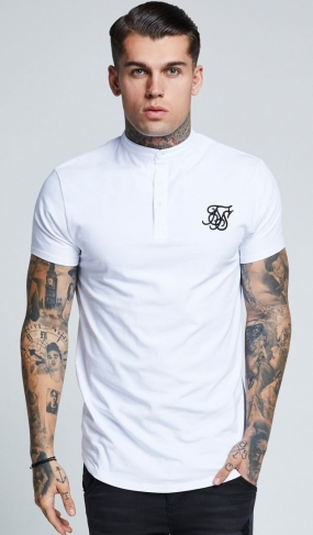 T-shirt con bottoni SikSilk - Bianco
