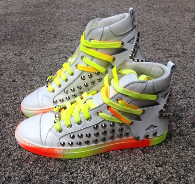 SCARPA I'M FREAK ALTA IN PELLE RIFINITA A MANO VERNICE COLORE FLUO MADE IN ITALY