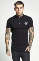 SikSilk T-shirt con bottoni - Nero