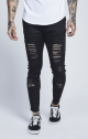 JEANS ILLUSIVE - illusive london low rise rip up jeans JEANS ILLUSIVE LONDON - COLORE NERO SKINNY CON ROTTURE NUOVA COLLEZIONE
